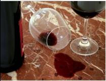 Tache de vin sur marbre
