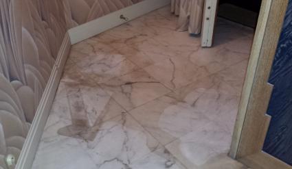 poncage marbre apres degat des eaux avant apres